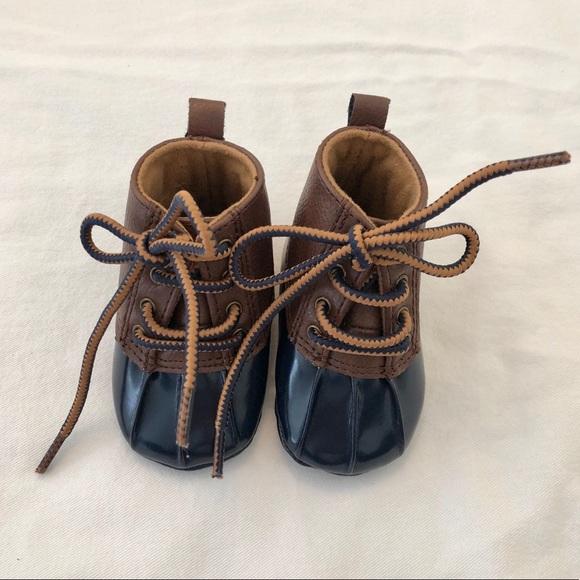 Baby Duck Bean Boots Navy Brown